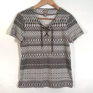 Chicos brown and white print top lace up front